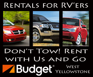Budget Rentals of Yellowstone : 2 Great Locations near Yellowstone's west entrance (5 blocks into town from the west gate, or at the West Yellowstone Airport). We are Yellowstone's source for cars, SUV's & 7-person Vans. We'll meet or beat any independent rate.