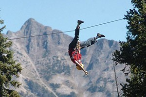 Yellowstone Aerial Adventures - ZipLine Park :: West Yellowstone's first ZipLine Park, just 3 blocks to Yellowstone's west entrance. Thrill at over 1000' of ziplines, plus 49 different ropes, bridges & climbing nets.