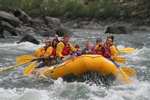 Flying Pig Rafting - our guests have more fun! :: Half-day raft trips on the Yellowstone River just outside the North (Gardiner) Entrance of Yellowstone. Also available, 1/2-day horseback, BBQ cookouts, kayaking & hikes.