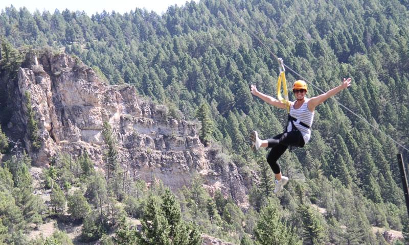 Riding a Montana Zipline