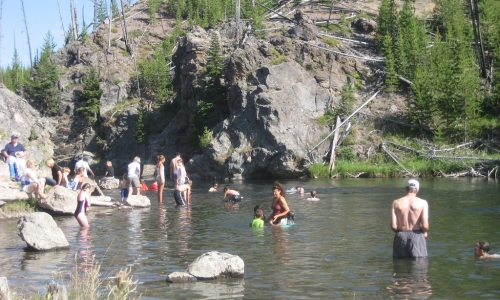 Swimming in the Firehole River in Yellowstone