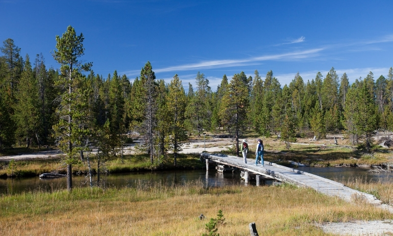 Trail over the Firehole River near Lone Star Geyser