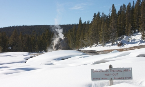 Lone Star Geyser in Winter