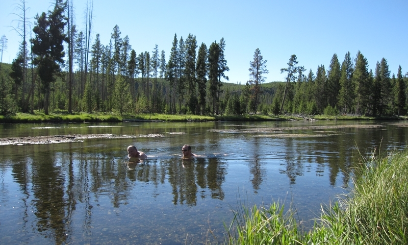 Swimming in the Firehole River