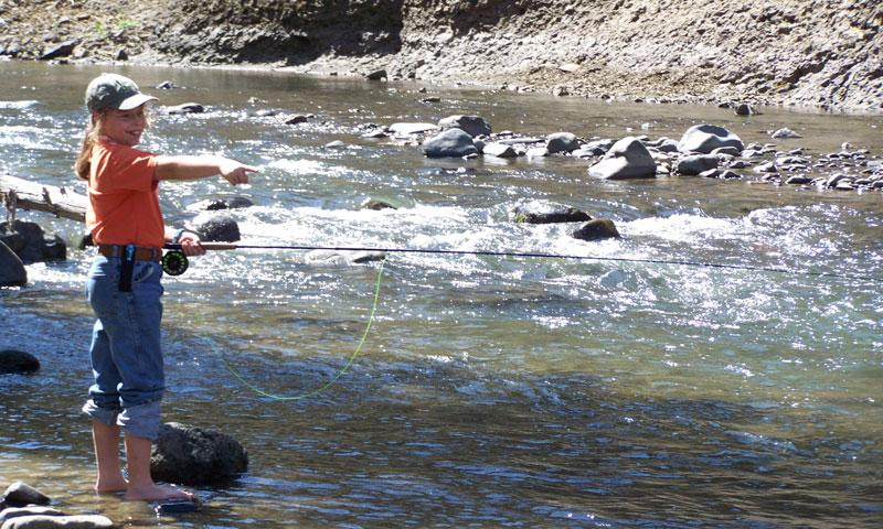 Kid Fly Fishing on the Lamar River