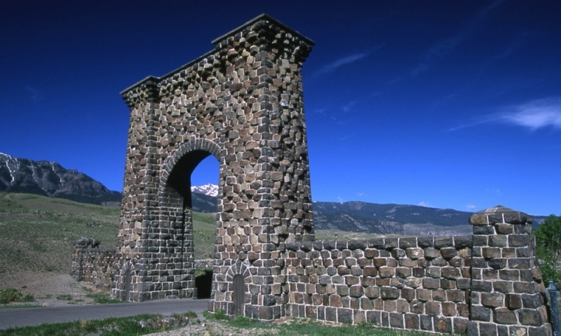 Mammoth Hot Springs Yellowstone North Entrance Roosevelt Arch Gardiner Montana