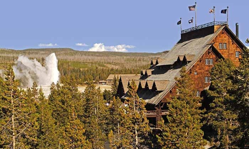 Old Faithful Hotel In Yellowstone National Park