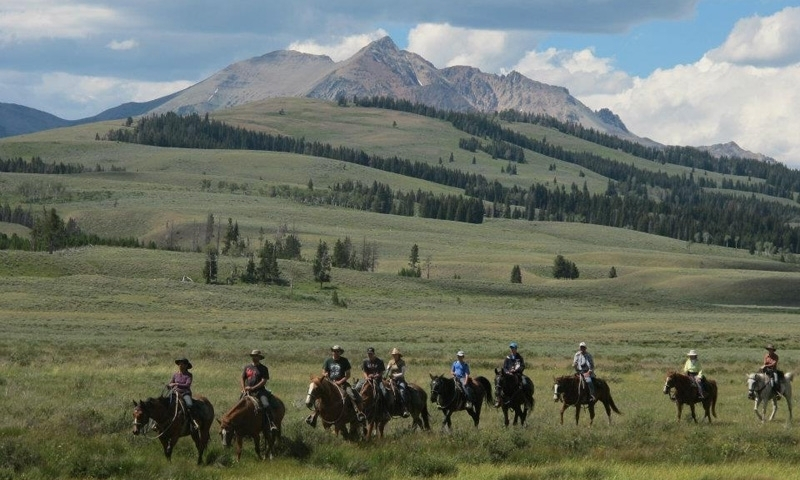 Horseback Riding through Gardiners Hole in Northwest Yellowstone