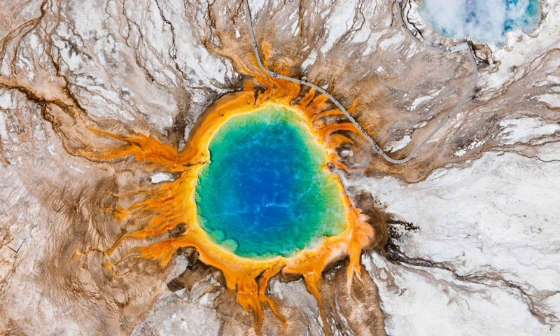 Aerial View of the Grand Prismatic Spring in Yellowstone