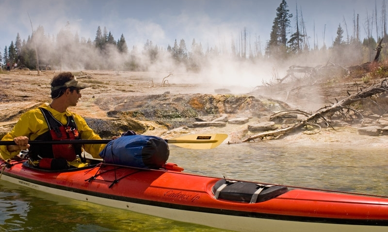 Kayak Kayaking Yellowstone Lake Yellowstone National Park Geyser